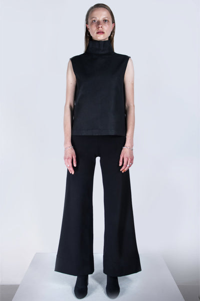 Shop emerging futuristic genderless designer Fuenf Metaphysics AW20 Collection Black Flared Pants at Erebus
