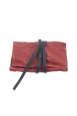 Shop Emerging Slow Fashion Avant-garde Artisan Leather Brand Gegenüber Red Leather Trifold Tobacco Wallet at Erebus