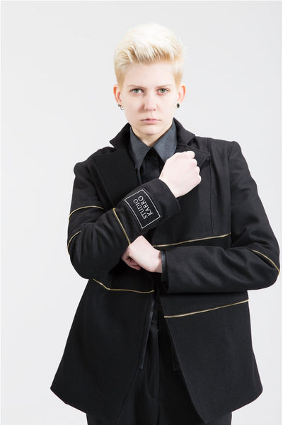 Shop Emerging Womenswear Brand Studio Karro Black with Gold Zip Tape Jacket at Erebus