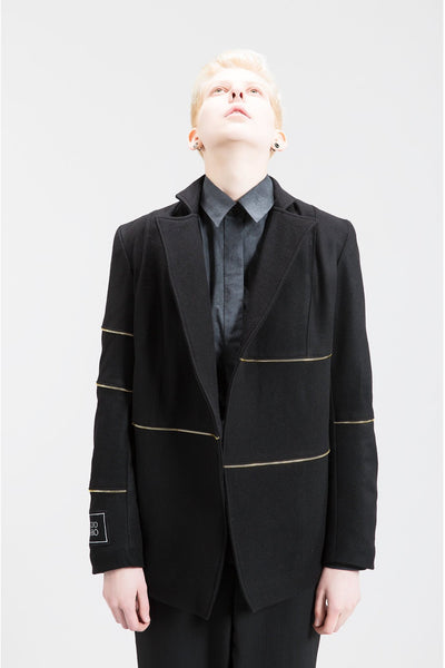 Shop Emerging Contemporary Womenswear Brand Studio Karro Black with Gold Zip Tape Jacket at Erebus