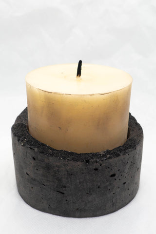 Shop Emerging Slow Fashion Brand Surface/Cast Black Concrete Alter Candle Holder at Erebus