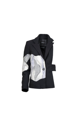 Shop Emerging Contemporary Womenswear Brand Studio Karro Black Wool Half Jacket at Erebus