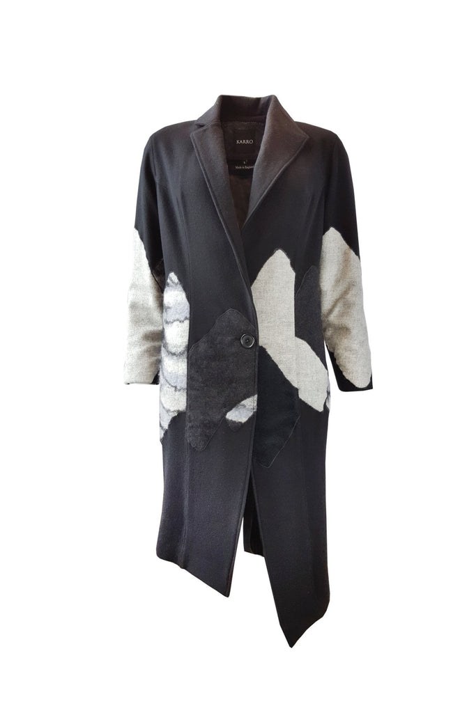 "Shop Emerging Contemporary Womenswear Brand Studio Karro Black ""Purple"" Felt Coat at Erebus"