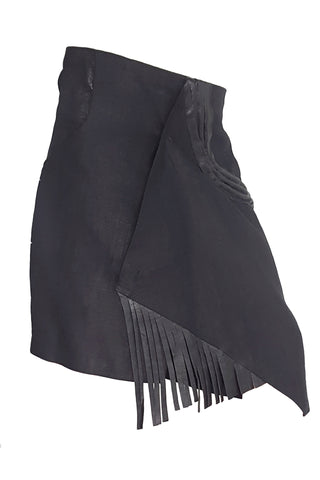 Shop Emerging Conscious Avant-garde Gender-free Brand Supramorphous Short Black Takis Wrap Skirt at Erebus