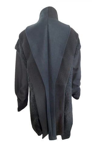 Shop Emerging Conscious Avant-garde Gender-free Brand Supramorphous Black Wool Layered Toki Coat at Erebus