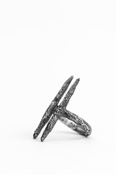 Shop avant-garde brands OSS x Army of Me Collaboration Silver Two Spike Ring at Erebus