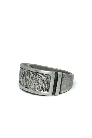 Shop Emerging Slow Fashion Avant-garde Jewellery Brand Gothmos Oxidised Sterling Silver Raw Frame Ring at Erebus