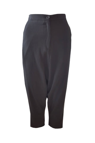 Shop Emerging Contemporary Womenswear Brand Studio Karro Black Drop Crotch Trousers at Erebus