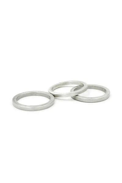 Shop Emerging Structural Jewellery Brand Conservation of Matter Matte Silver Stacking 3 Ring Set at Erebus