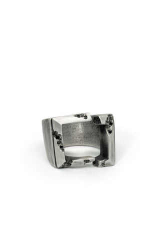 Shop Emerging Slow Fashion Avant-garde Jewellery Brand Gothmos Oxidised Sterling Silver and Black Diamond Broken Formality Ring at Erebus