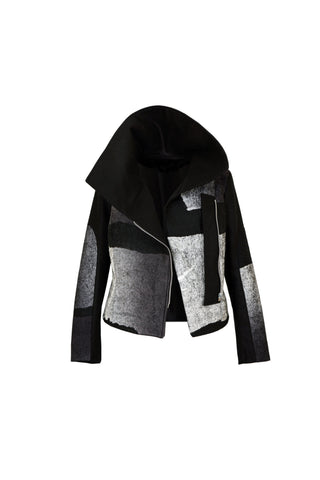 Shop Emerging Contemporary Womenswear Brand Studio Karro Black High Collar Jacket at Erebus