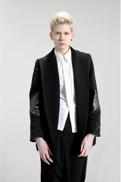 Shop Emerging Contemporary Womenswear Brand Studio Karro Leather Sleeve Jacket at Erebus