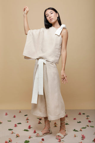 Shop Emerging Slow Fashion Conscious Conceptual Brand Cora Bellotto Sand Linen Pluto Pants at Erebus