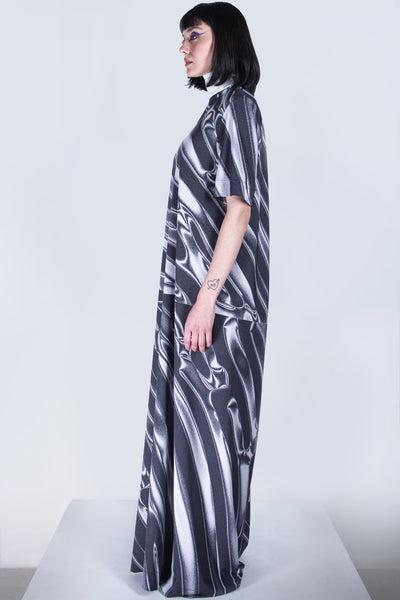 Shop emerging futuristic genderless designer Fuenf Metaphysics AW20 Collection Sergei Skip Print Recycled PET Bottle Print High Neck Maxi Dress at Erebus