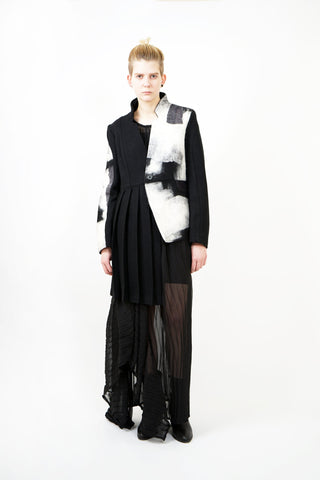 Shop Emerging Contemporary Womenswear Brand Studio Karro Black Pleated Jacket at Erebus