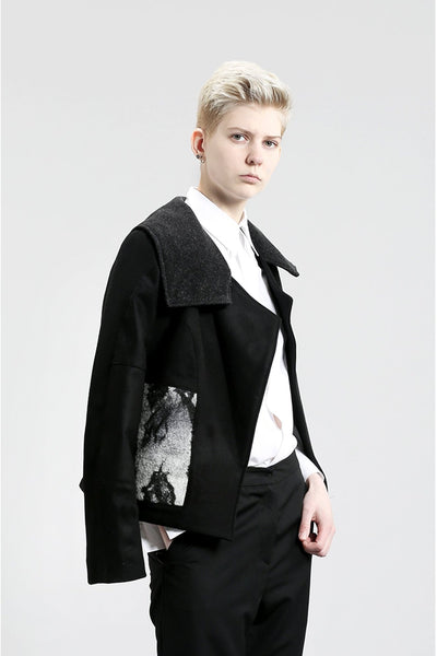 Shop Emerging Contemporary Womenswear Brand Studio Karro Marble Felt Jacket at Erebus