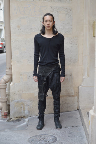 Shop Couture Conscious Dark Avant-garde Luxury Designer Brand Sandrine Philippe SS20 Homme Collection Black Leather Belt Leg Bag  at Erebus