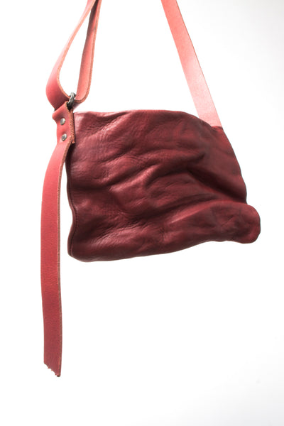 Shop Emerging Slow Fashion Avant-garde Artisan Leather Brand Gegenüber Red Woge Bum Bag at Erebus