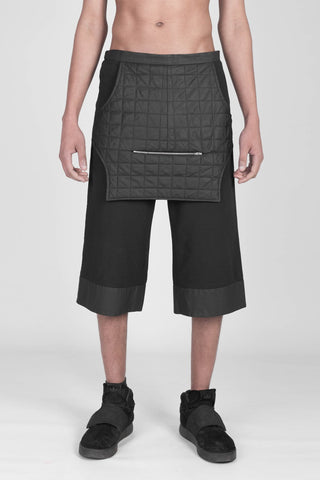 Shop emerging designer Fuenf black unisex Dystopia Cropped Trousers - Erebus