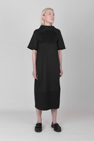 Shop emerging designer Fuenf black scuba Minimal Dress - Erebus