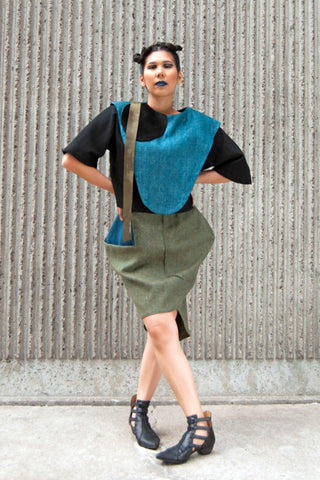 Shop Emerging Conscious Avant-garde Gender-free Brand Supramorphous Green Wool Lotus Skirt at Erebus