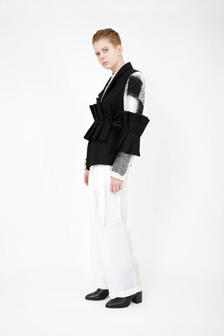 Shop Emerging Contemporary Womenswear Brand Studio Karro Black Pleat Jacket at Erebus