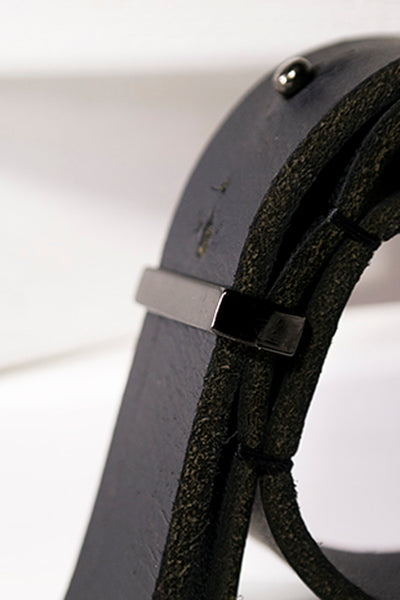 Shop Emerging Slow Fashion Avant-garde Artisan Leather Brand Gegenüber Black Gürtel Cuff at Erebus