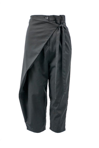 Shop Emerging Contemporary Womenswear Brand Studio Karro Black Pinstripe Overlap Trousers at Erebus