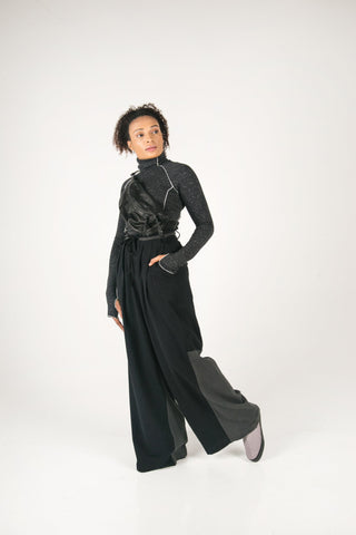 Shop Fair Fashion Genderless Avant-garde Basics Brand PULSE by Mark Baigent Collection Wide Leg Fibular Pants at Erebus