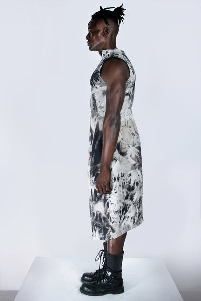 Shop emerging futuristic genderless designer Fuenf Metaphysics AW20 Collection Hand Bleached Dress Vest at Erebus