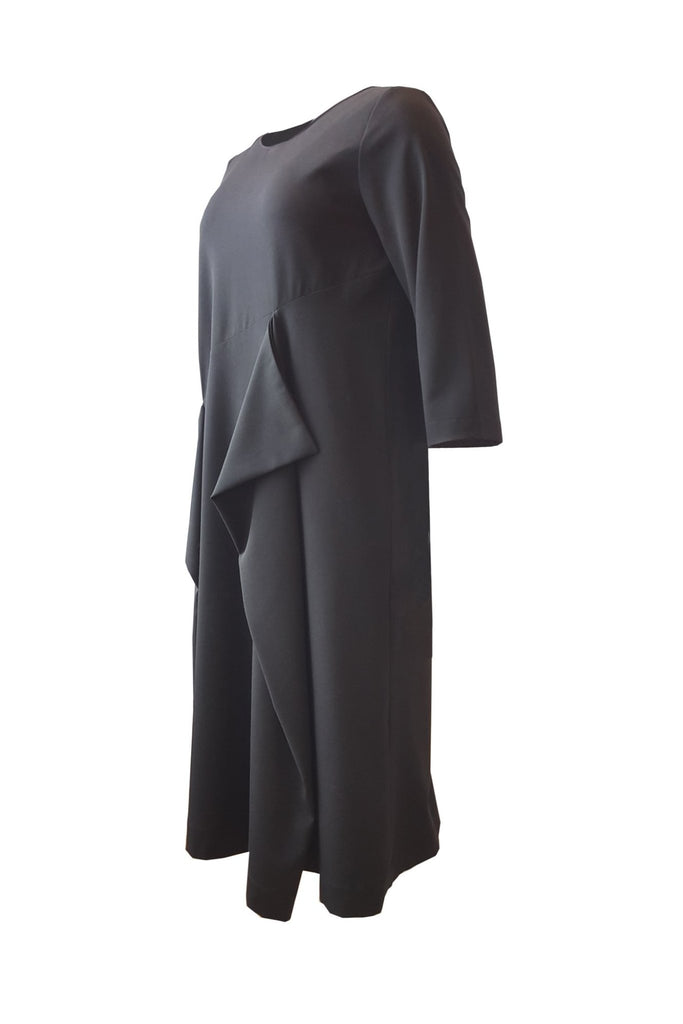 Shop Emerging Contemporary Womenswear Brand Studio Karro Black Overlap Dress at Erebus