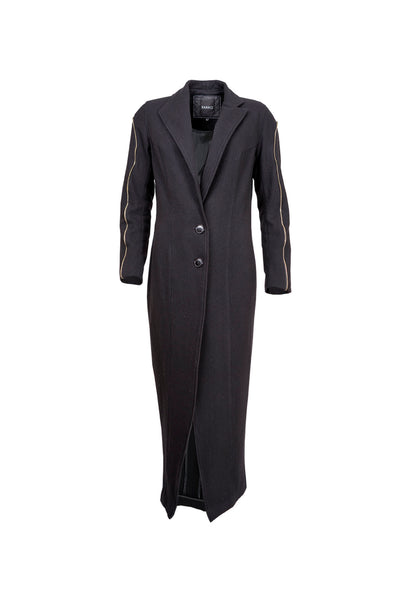 Shop Emerging Contemporary Womenswear Brand Studio Karro Black Wool Long Fitted Coat at Erebus