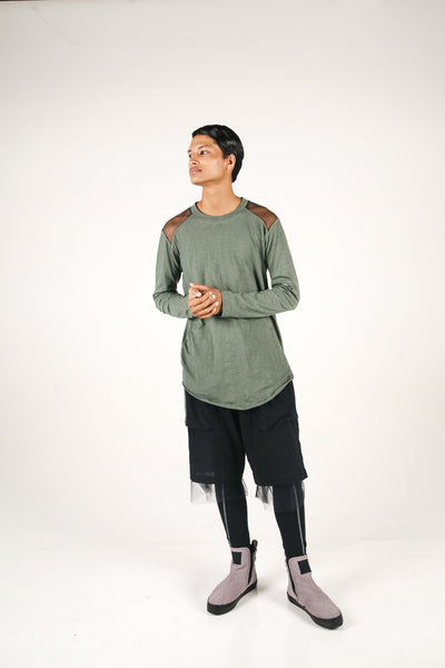 Shop Fair Fashion Genderless Avant-garde Basics Brand PULSE by Mark Baigent Collection Green Smoke Slub Cotton Artery Long Sleeve T-Shirt at Erebus
