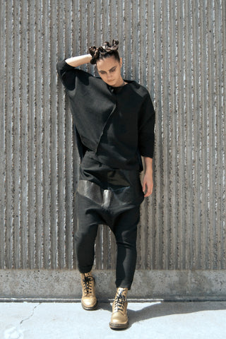 Shop Emerging Conscious Avant-garde Gender-free Brand Supramorphous Black Blouse at Erebus