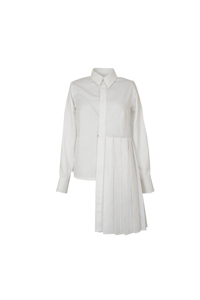 Shop Emerging Contemporary Womenswear Brand Studio Karro White Asymmetric Pleated Shirt at Erebus