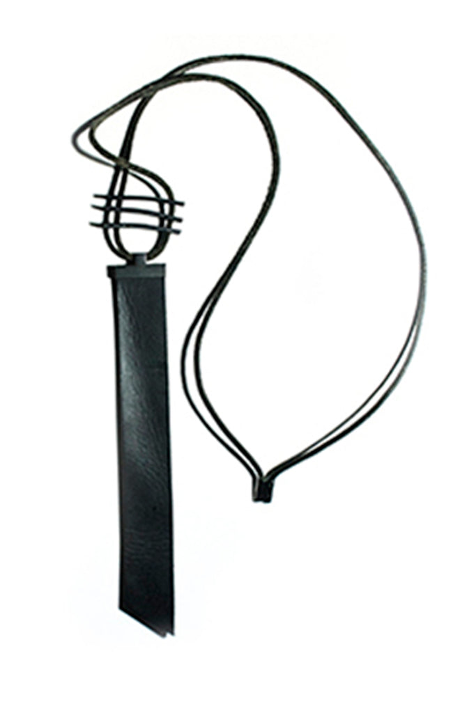 Shop Emerging Slow Fashion Avant-garde Artisan Leather Brand Gegenüber Black 9 Necklace at Erebus