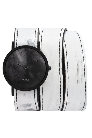 Shop emerging avant-garde accessory brand South Lane White Hand-painted Avant Diffuse Triple Wrap Watch at Erebus
