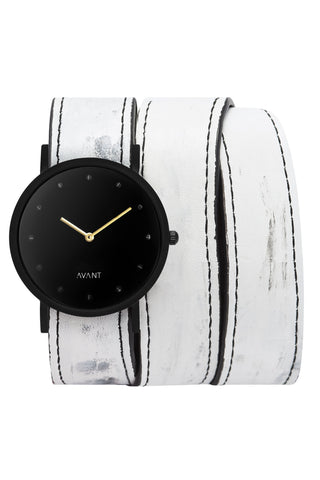 Shop emerging avant-garde accessory brand South Lane White Hand-Painted Avant Pure Triple Wrap Watch at Erebus