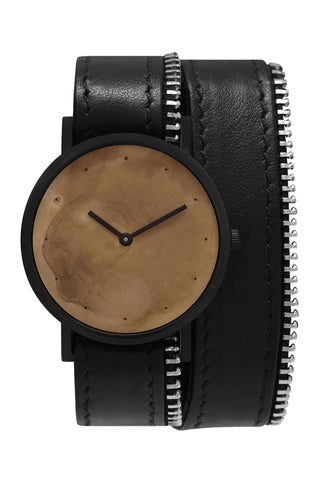 Shop emerging avant-garde accessory brand South Lane Avant Exposed Black Double Zip Wrap Watch at Erebus