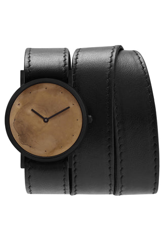 Shop emerging avant-garde accessory brand South Lane Avant Exposed Black Triple Wrap Watch at Erebus