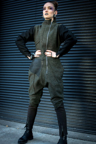 Shop Emerging Conscious Avant-garde Gender-free Brand Supramorphous Wool Jumpsuit at Erebus