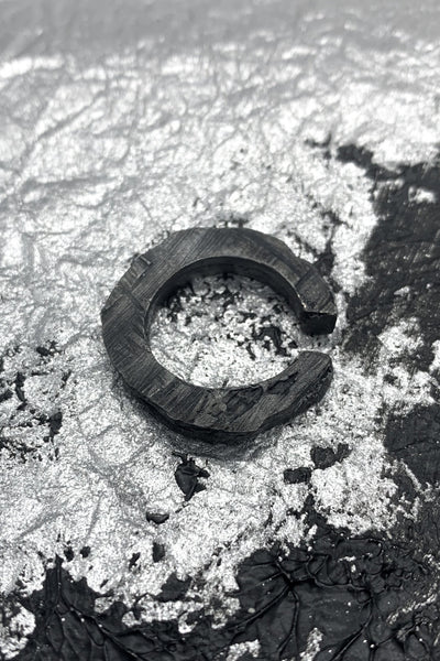 Shop Emerging Slow Fashion Avant-garde Jewellery Brand OSS Haus MSKRA Collection Blackened Silver Zaku Ear Cuff at Erebus