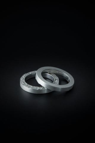 Shop emerging slow fashion unisex jewellery brand Møsaïs Accumulation #1 Silver Ring Set - Erebus
