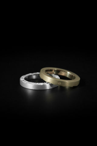 Shop emerging slow fashion unisex jewellery brand Møsaïs Accumulation #2 Silver and Gold Ring Set - Erebus
