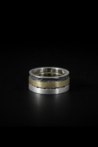 Shop emerging slow fashion unisex jewellery brand Møsaïs Accumulation #4 Silver and Gold Ring Set - Erebus