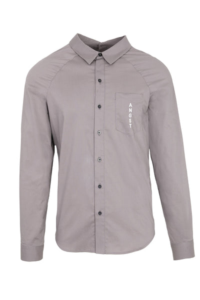 Shop Emerging Slow Fashion Avant-garde Unisex Brand Dhenze Kollektion 5 Grey Double Placket Orchid Shirt at Erebus