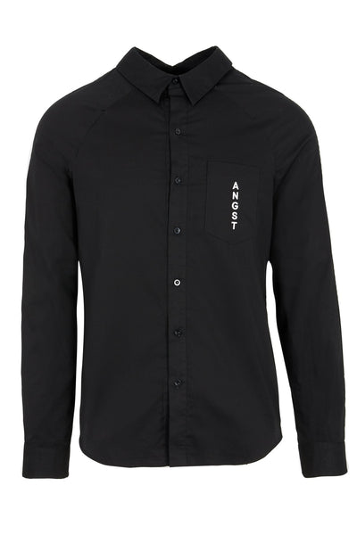 Shop Emerging Slow Fashion Avant-garde Unisex Brand Dhenze Kollektion 5 Black Double Placket Orchid Shirt at Erebus