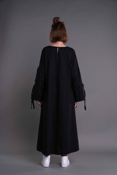 Shop Emerging Dark Conceptual Brand Anagenesis Albedo Collection Long Black Strand Dress at Erebus