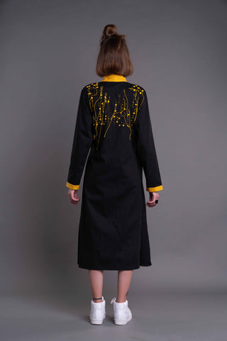 Shop Emerging Dark Conceptual Brand Anagenesis Albedo Collection Black and Yellow Wrapped Kimono Jacket at Erebus