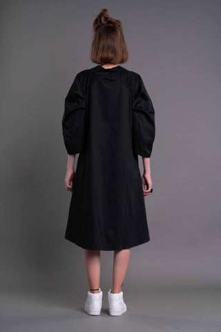Shop Emerging Dark Conceptual Brand Anagenesis Albedo Collection Black Breach Dress at Erebus